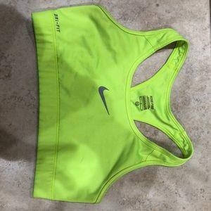 Nike Pro Dri fit sports bra neon yellow medium